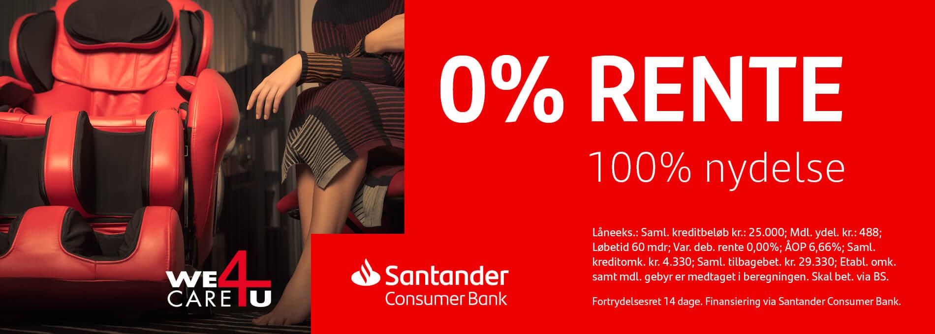 Rentefri delbetaling med Santander